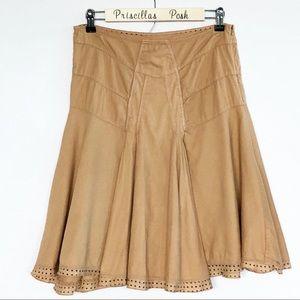 Anthropologie TINY Tan Panel Full Skirt SZ 2
